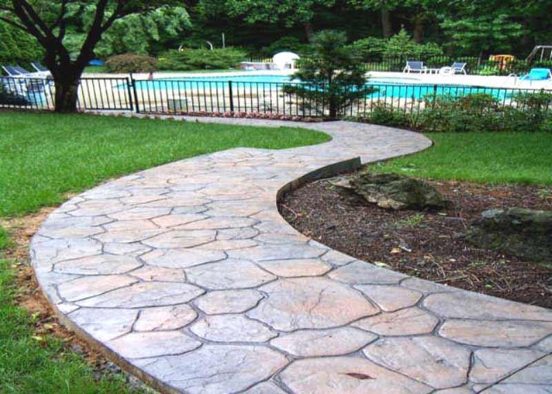 Pavimento Calcestruzzo Stampato : Pavimento cemento stampato sentiero giardino porfido pavimento moderno