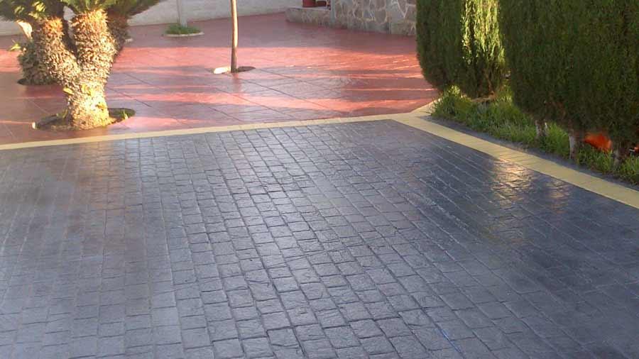 Pavimento parcheggio pavimenti esterni cemento stampato effetto