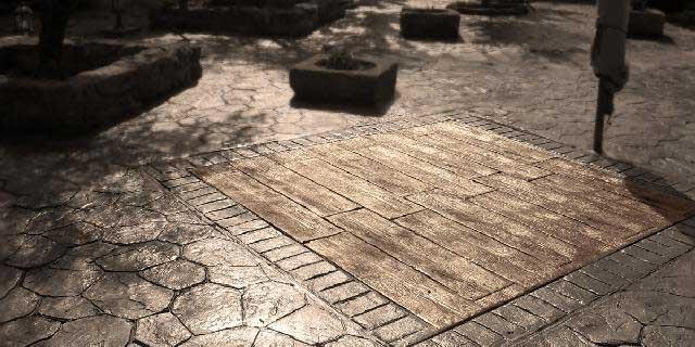 Cemento stampato per pavimento esterno resistente for Pavimenti per esterni carrabili offerte