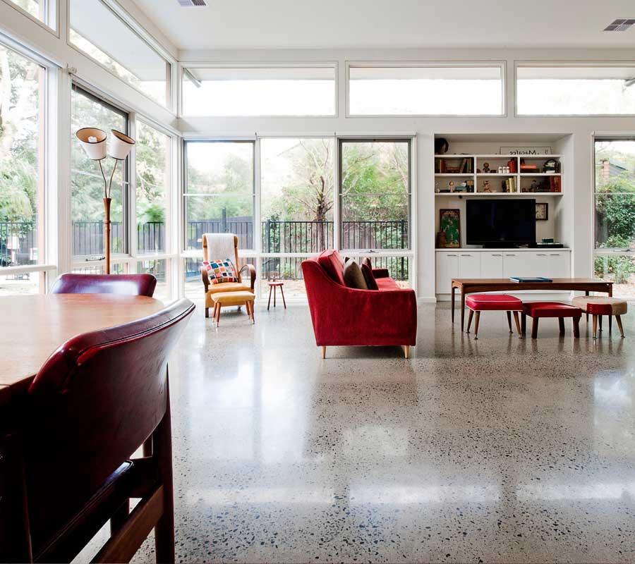 Stunning pavimento in cemento levigato grigio with for Progettazione del layout del pavimento