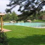 piscina e bordo con prato naturale