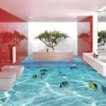 pavimenti in resina tridimensionali con acquario