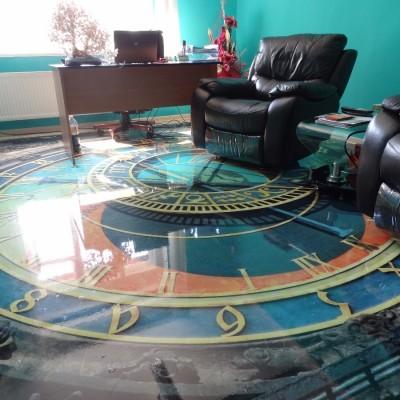 pavimenti in resina tridimensionale con bussola o orologio a.