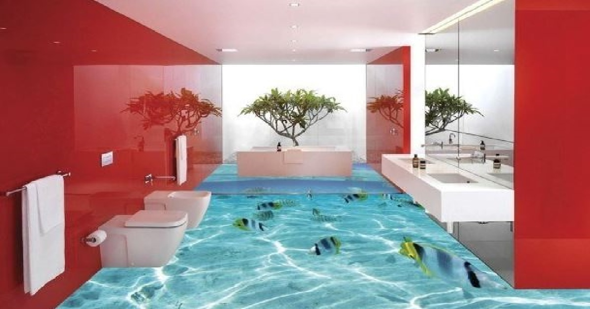 pavimenti in resina 3d tridimensionali con acquario