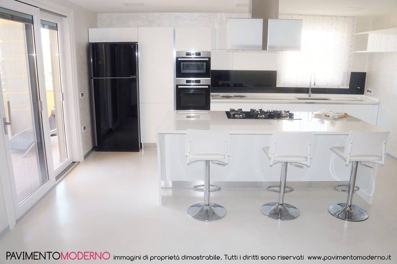 pavimento-in-resina-cucina-bianco-lucido - Pavimento Moderno